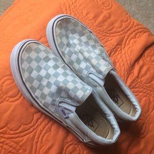 Well loved baby blue checkered slip on vans
